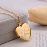 """I Love You"" Carved Heart Pendant Locket Necklace"