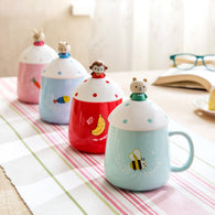 Creative cute three-dimensional cartoon ceramic mug