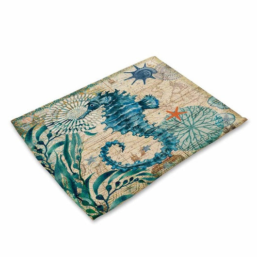 Kitchen Table Mats Set Marine Sea Turtle Octopus Pattern
