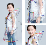 Children Colorful Seams Transparent Raincoat