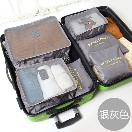 6Pcs Pure Color Travel Storage Suitcase Bag Set