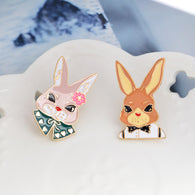 2pcs/set Japanese cute bow tie rabbit brooch