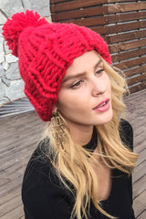 Knitting wool ball beanies
