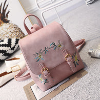 Pink Floral Embroidery Leather Backpack