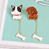 Cartoon Puppy Brooch with Chain