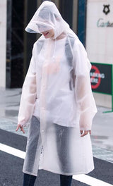 Long and Thick Hooded Raincoat