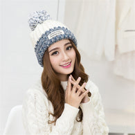 Two Colors Pom Pom Knitted Beanie
