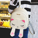 Changing Face Cat Leather Backpack