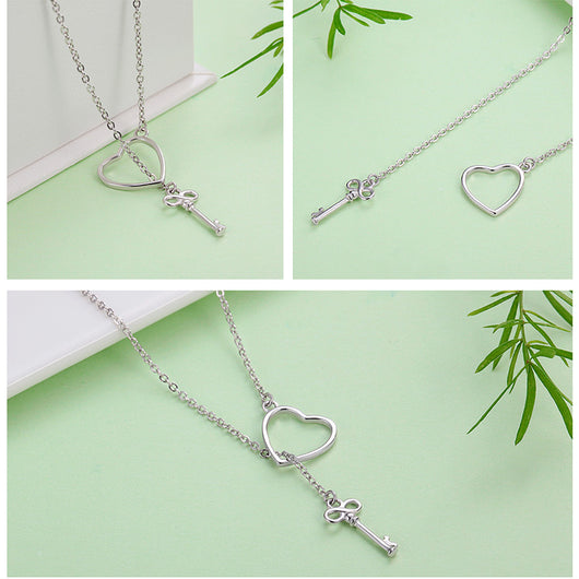 Sweet Key of Heart Lock Link Chain Necklaces & Pendants