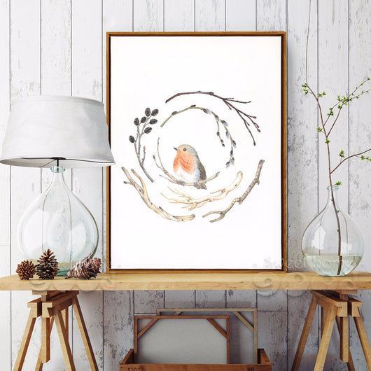 Vintage watercolor branches and bird Canvas Art Print Painting Poster