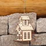 Creative Wood House Pendant Christmas Ornaments