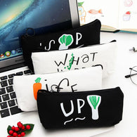 Black White Up Life Canvas Large Capacity Pencil Bag
