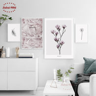 Feather Flower Canvas Art Print Painting Poster