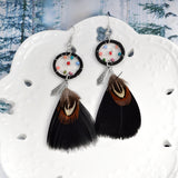 Long Feather Drop Earrings