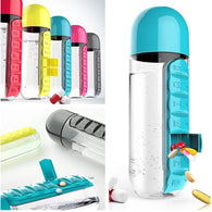 600ML 2 in 1 Combine Daily Pill Box Plastic Leak-Proof Drinking Bottles