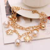 Gold Color Multilayer Beaded Pendant Bracelets
