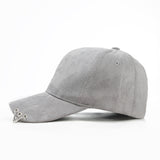 Suede Baseball Cap with Rings