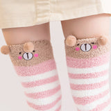 Kawaii Cozy Coral Fleece Over Knee Socks