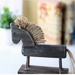 Wooden Handmade Crafts Rocking Horse Figurines Home Decor Desktop Ornaments Gifts