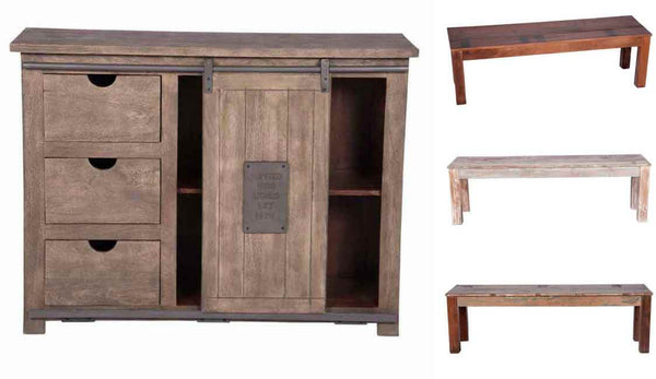 Sliding Door Cabinet with Dining Bench