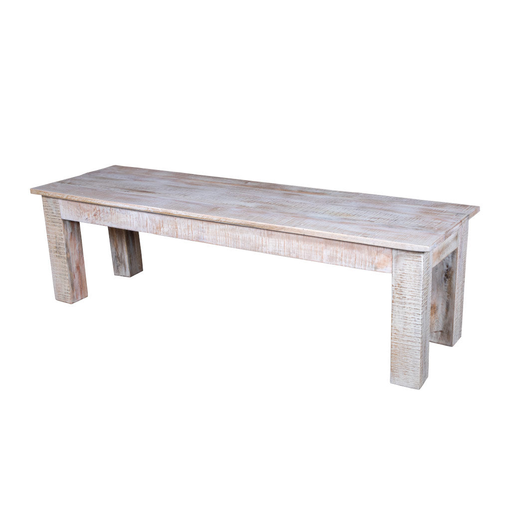 Maadze White Raw Dining Bench