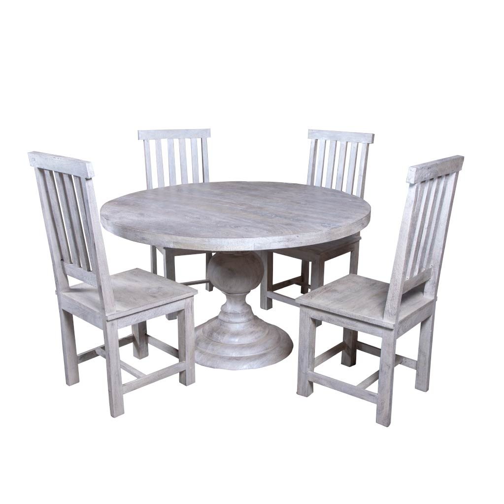 "Maadze 5 Piece White Round Dining Table Set ""PEARL"" - Maadze"
