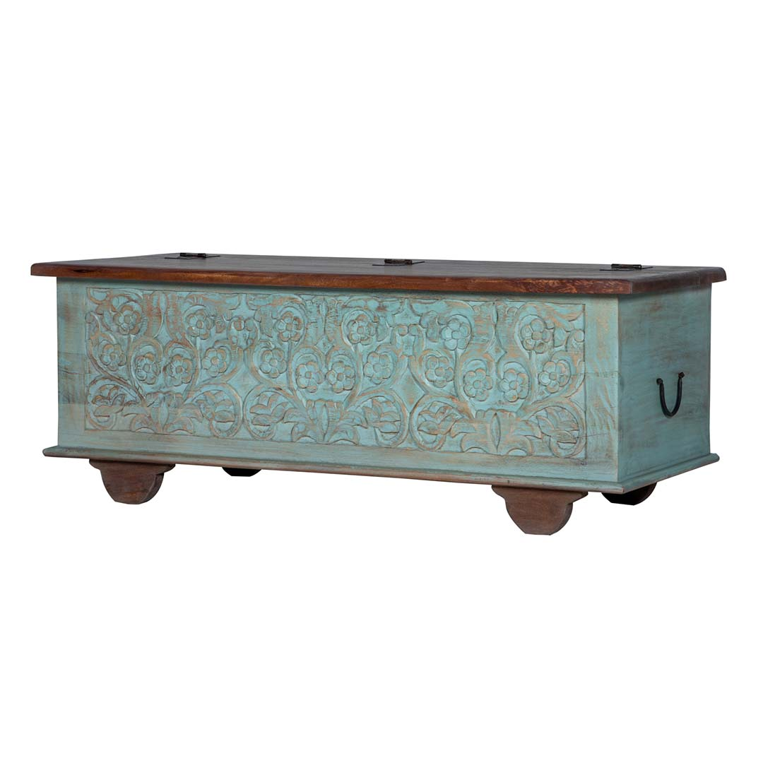 "Maadze Green Rustic Storage Trunk ""Turquoise"""