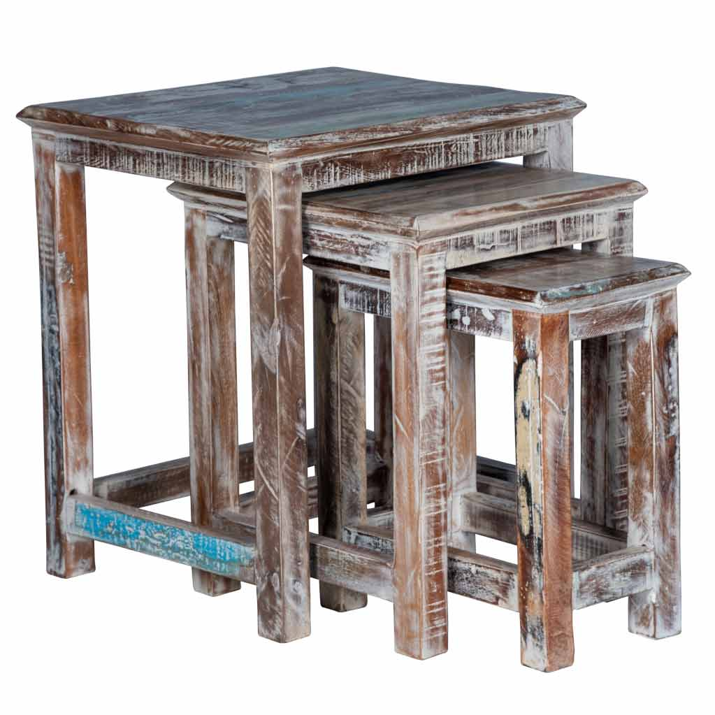 Rustic White Nesting Tables - Maadze
