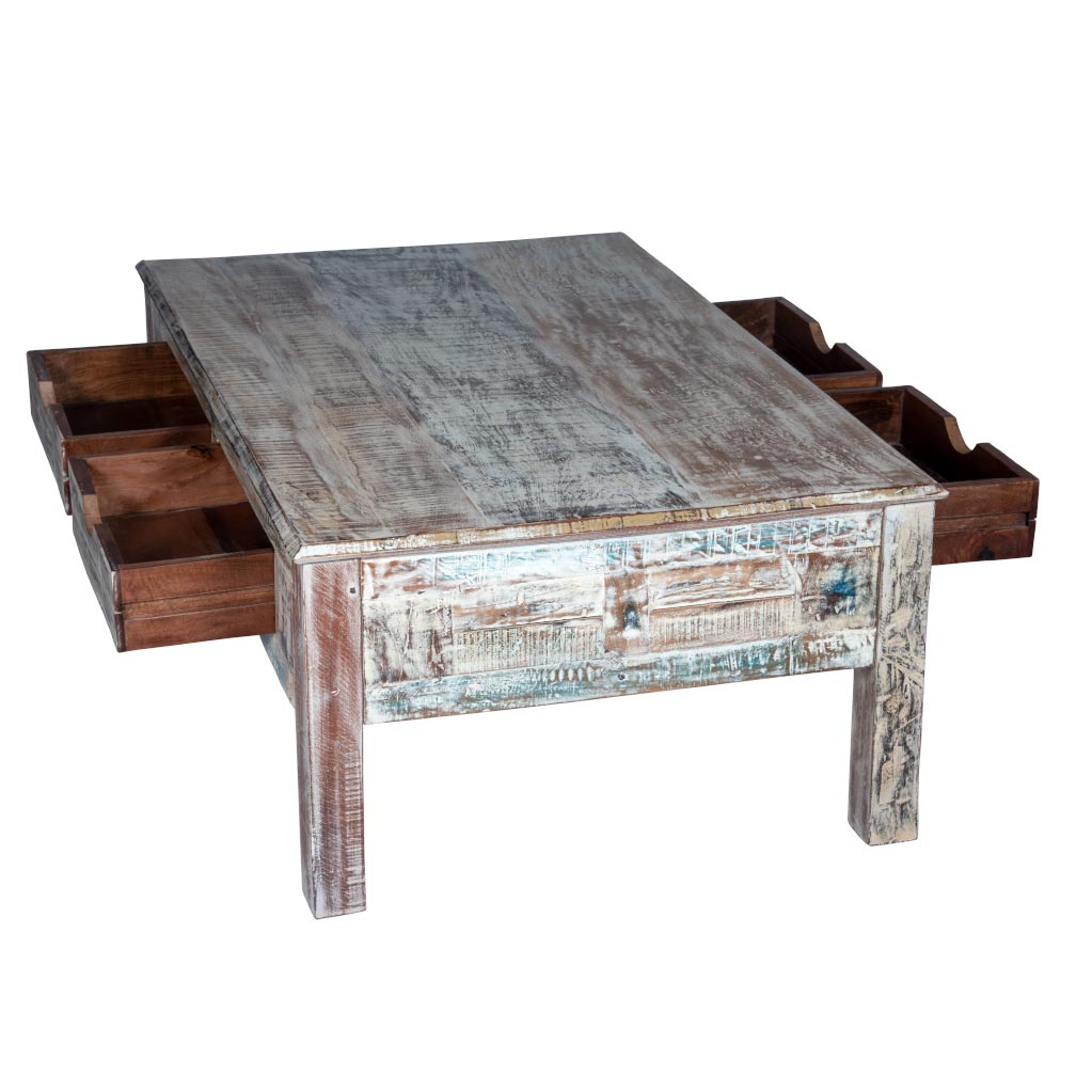 - Rustic White Coffee Table