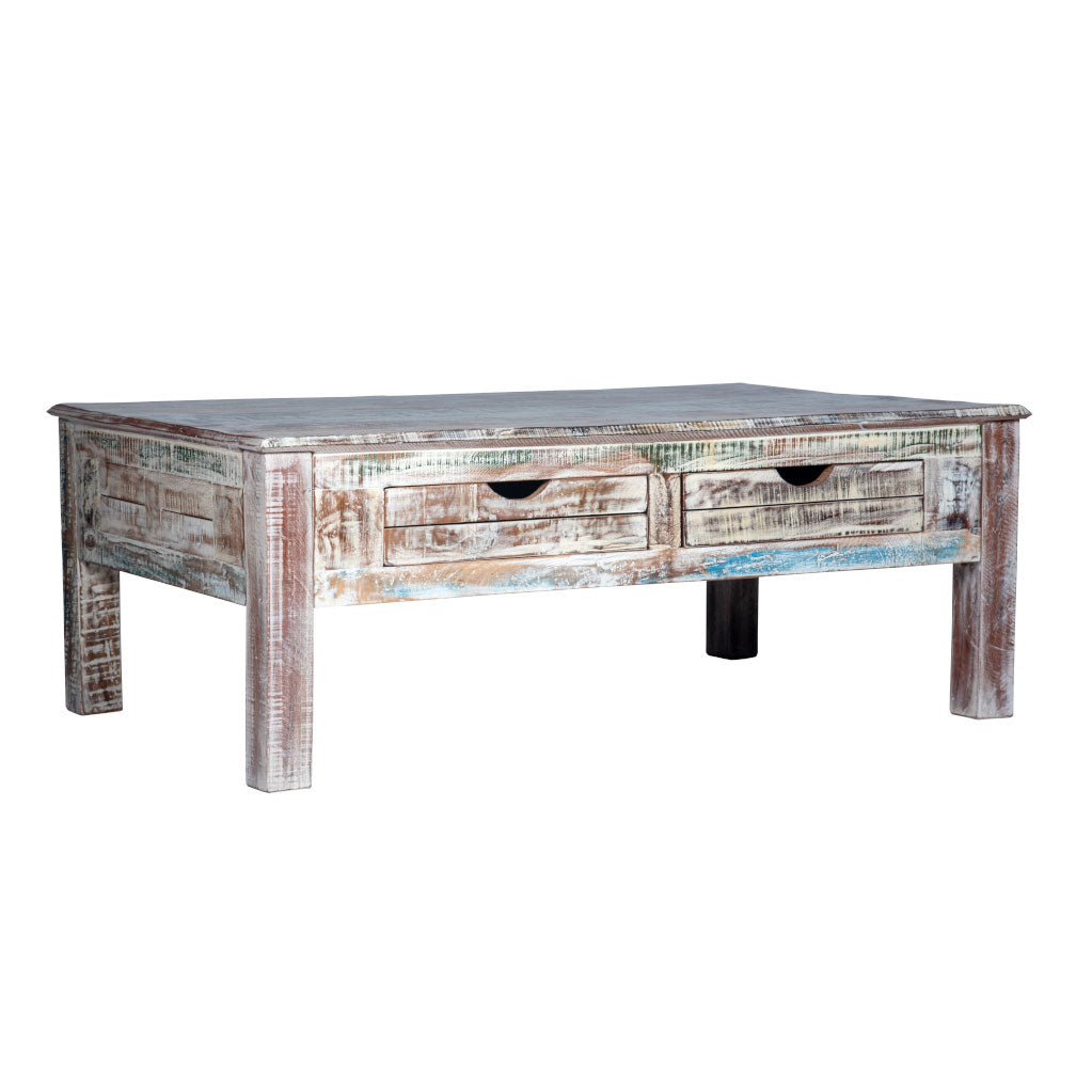 Rustic White Coffee Table - Maadze