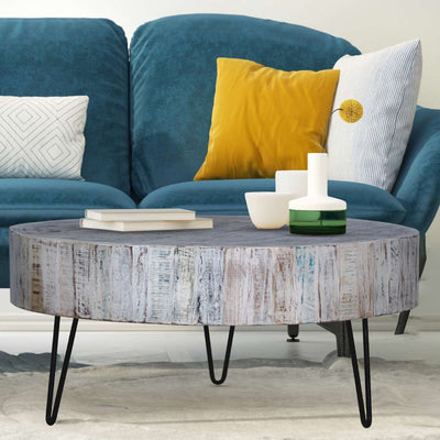 Round Coffee Table with Hairpin Legs | Maadze