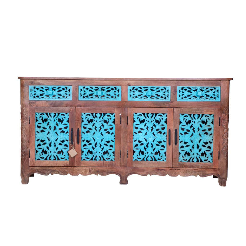 "Maadze Blue Carved Sideboard Buffet ""Odyssey"""