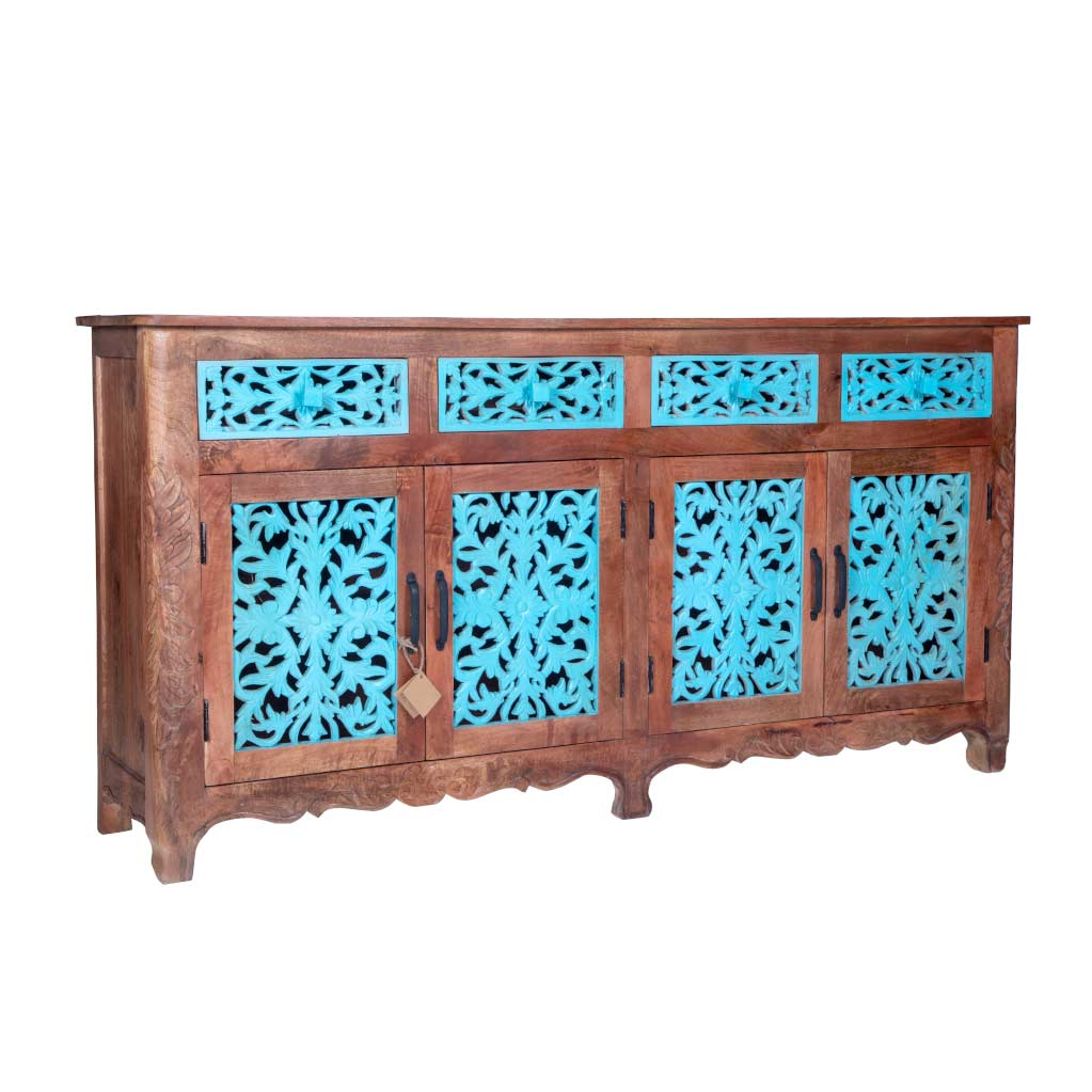 "Maadze Blue Carved Sideboard Buffet ""Odyssey"" - Maadze"