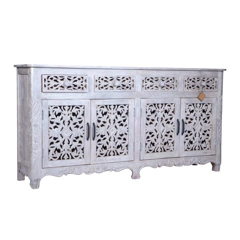 "Maadze White Carved Sideboard Buffet ""Pearl"""
