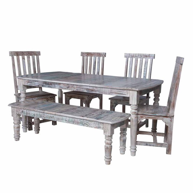 Maadze 6 piece Whitewash Dining table Set