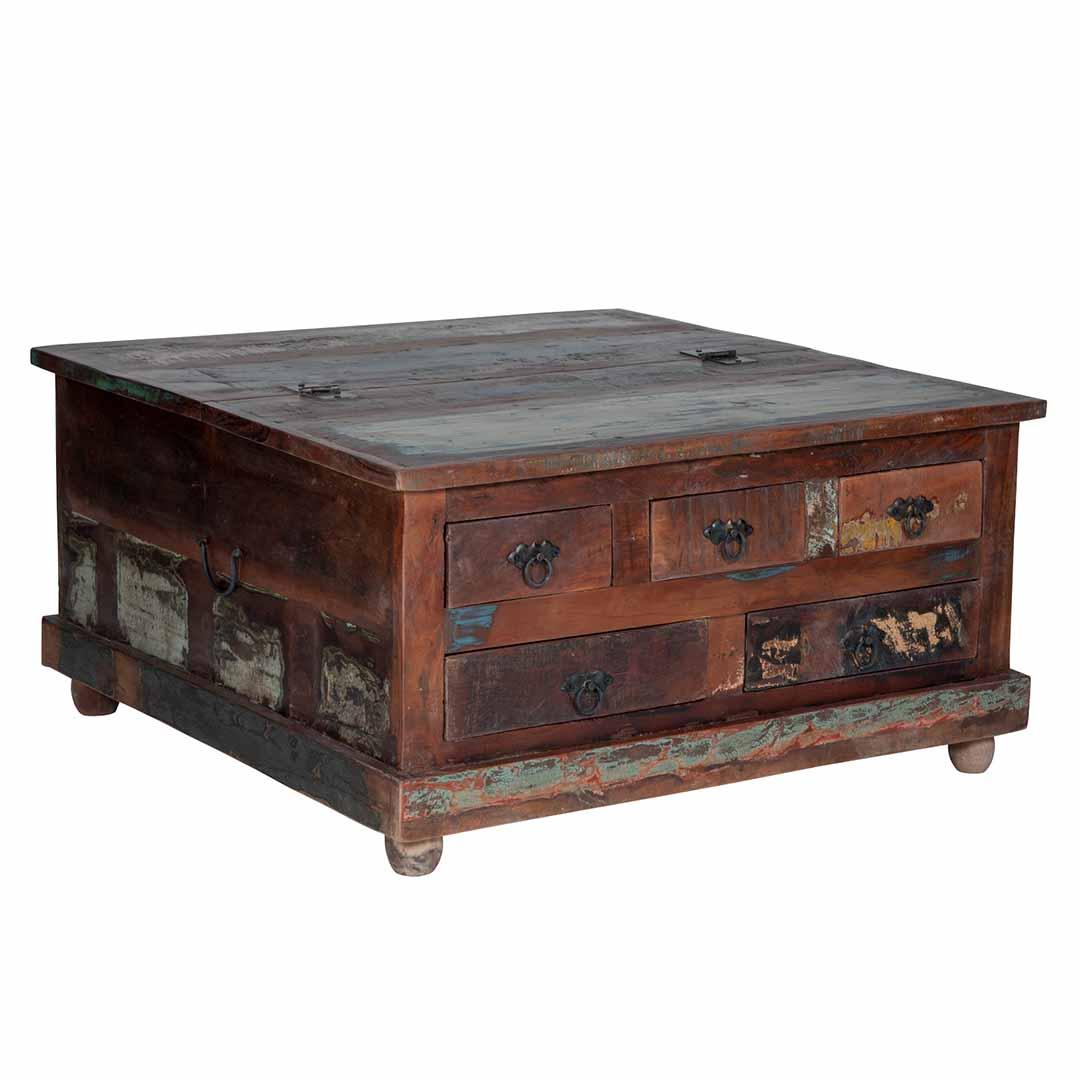 - Maadze Rustic Trunk Coffee Table With Drawers