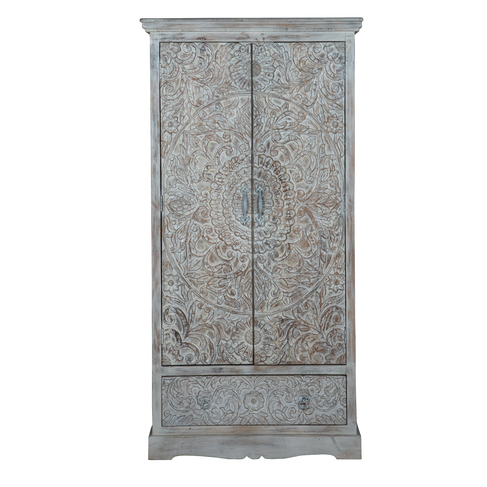 Maadze 2-Door White Wardrobe Armoire