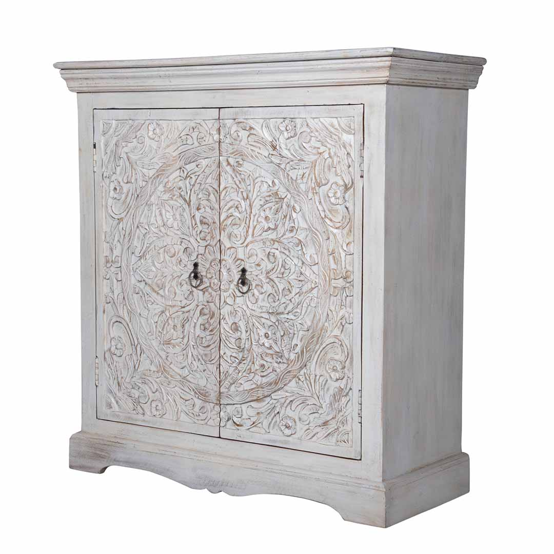 Maadze Carved White Buffet Cabinet