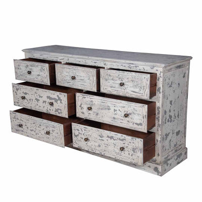 Maadze 7-Drawer White Double Dresser