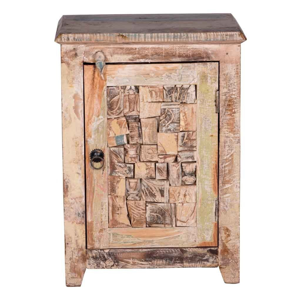 Maadze White Distressed Nightstand - Maadze