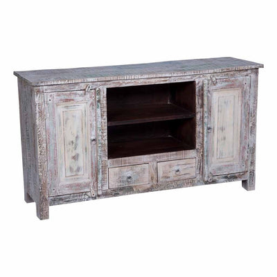 maadze distressed wood center rustic tv stand