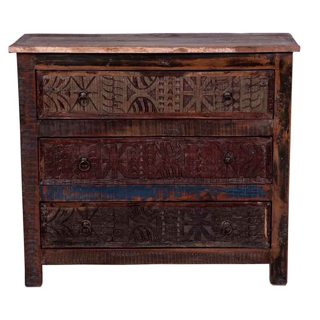 "Maadze Reclaimed wood Dresser with Carved Panels ""Earth"" - Maadze"