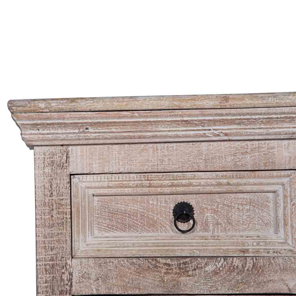 Close look of the Maadze White Sideboard Drawer