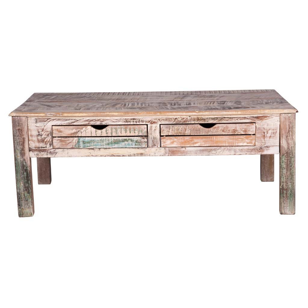Whitewashed Coffee Table with Drawers | Maadze