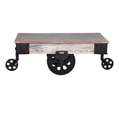 Whitewashed Cart Coffee Table | Maadze - Maadze