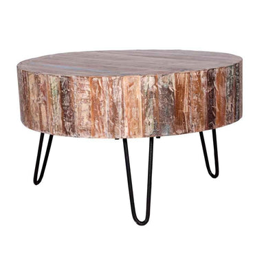 Rustic Round Coffee Table with Hairpin Legs | Maadze