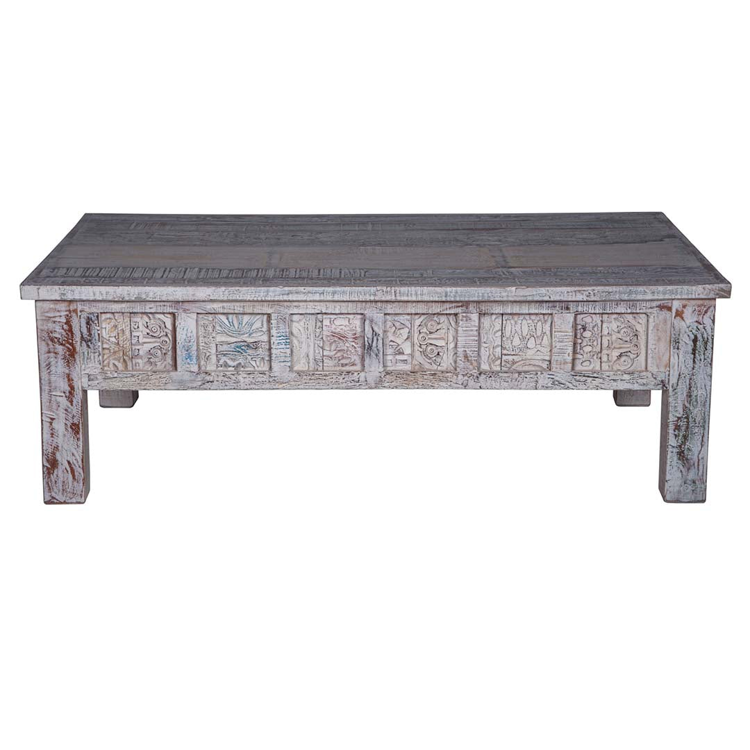 Shabby White Carved Coffee Table