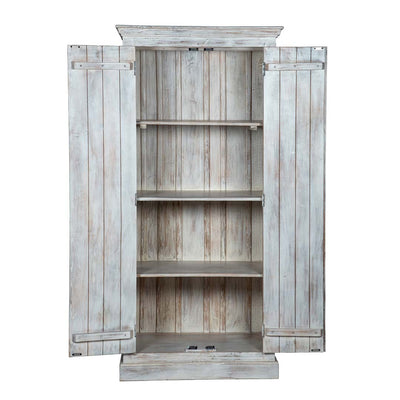 Maadze Shabby Chic White Carved Wardrobe