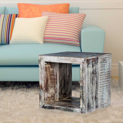 Maadze White Cube End Table