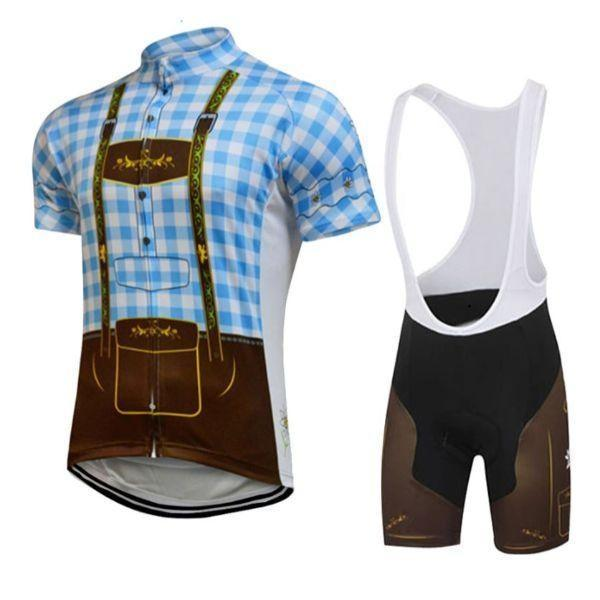 blue lederhosen cycling kit